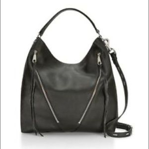 Rebecca Minkoff Bryn Moto black zipper hobo bag